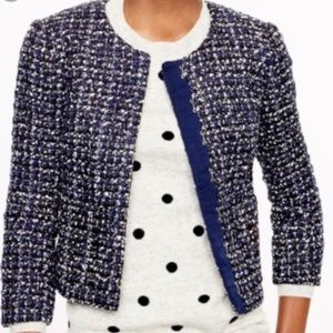 J Crew midnight tweed jacket flecked silver